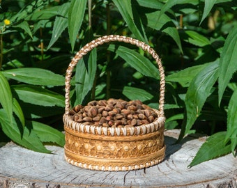 Round Basket Bowl made from 100% Natural Birch Bark with Natural Cedar Nuts #BO1
