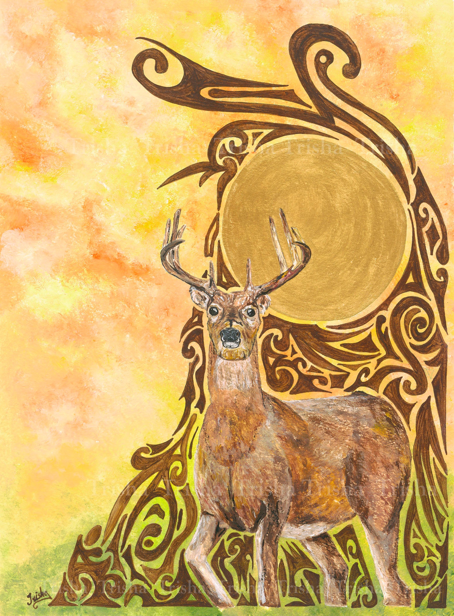 Lord of the Forest Limited edition print stag yellow