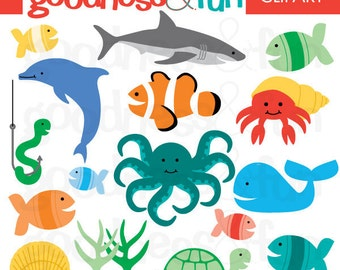 Buy 2, Get 1 FREE - In The Sea Animal Clipart - Digital Ocean & Sea Animal Clipart - Instant Download