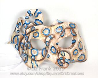 Octopus Mask, Leather mask, Blue-Ringed , Animal Mask, Ocean Life, LARP garb, Theater Prop, Mardi Gras, Costume, cosplay