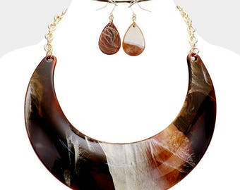 Wide Celluloid Crescent Bar Necklace