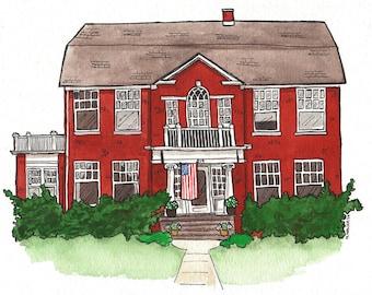 Custom Original Art, House Portrait, Original Drawing