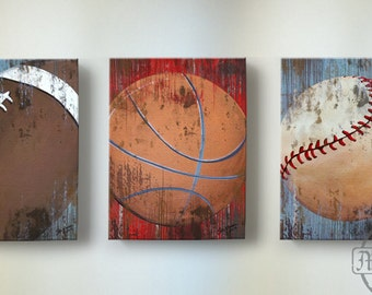 Vintage Sports Wall Art, Basketball Baseball and Football Canvas Wall Art ,Boys' Room or Nursery Decor
