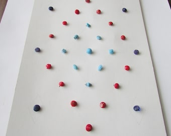Vintage Diminutive Glass Button Estate Collector Card29 Blue & Red Tiny Buttons