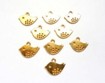 10 Gold Plated Bird Charms - 21-16-6