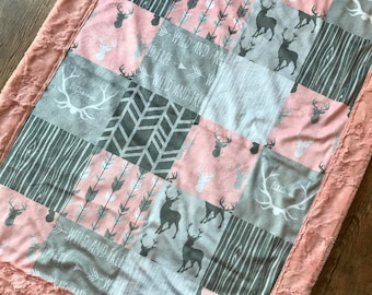 Little One | Girl | Pink | Deer | Arrows | Woodgrain | Buck | Antlers | Grey | Charcoal | Baby Blanket