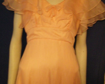 Vintage JC Penneys Melon Prom Dress - Full Length- Chiffon- 1980's prom dress Butterfly sleeves