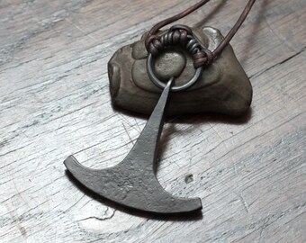 Large Ukonvasara Pendant, Finnish hammer pendant made out of pure iron.
