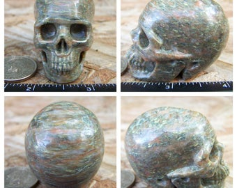 "2.1"" 3.9oz 110.9g Unknown Stone Type Skull Realistic Crystal Healing Magical Magick Mystic Reiki Wicca Large Green 2 inch SK663"