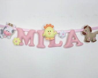 Name Banner,Farm Animals Theme pastel colours,Name Garland,Wall Hanging,Nursery Decor,Baby Gift,Felt Letters