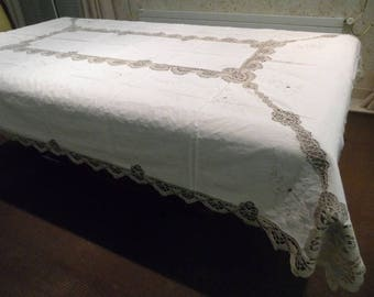 tablecloth of cotton and crochet 260 x 175 cm + 12 seviettes