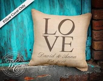 Philadelphia love, love pillow, engagement gift, wedding gift, farmhouse decor, Family Name, Burlap, Personalized Pillow, Burlap Pillow,