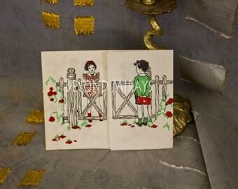 Vintage Valentine 1930's boy & girl tri-fold card