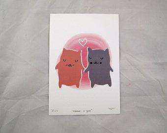 Valentines cat print - Cat print - Cat art - I like cats - Grey cat - cute cat - Cat wall art - wall art - Grey cat - cat illustration - cat