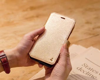 iPhone 7 / iPhone 8 Genuine Leather Phone Wallet Case in Rose Gold Saffiano Embossed Leather