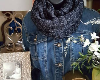 N1056 Charcoal black wool soft ribbed infinity scarf, girlfriend, wife, casual scarf
