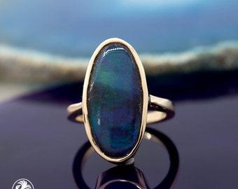 Opal Ring, Boulder opal Ring, Oval Opal Ring, Blue Green Opal Ring, Raw Opal Ring, Yellow Gold Blue and Green Opal Ring | LDR02641