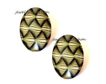 2 glass cabochons yellow 18x25mm