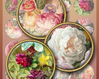 "Painting - Roses Digital Collage Sheet, 1.5"", 1.25"", 30 mm, 25 mm, 1 inch circles, INSTANT DOWNLOAD cabochon images for pendants (PF10-c)"