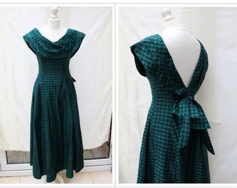 Monsoon Twilight Green Gingham Vintage Evening Dress - Size 10/12