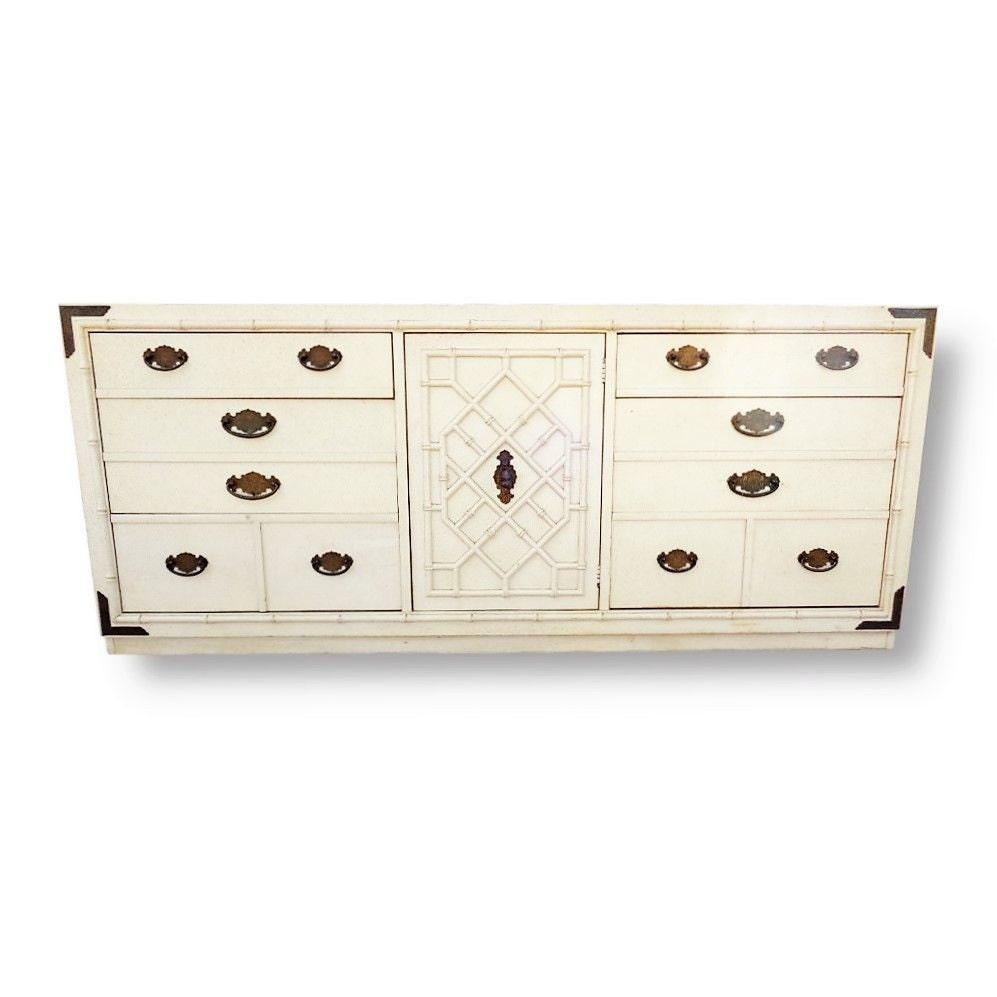 VVH Vintage Faux Bamboo Dresser Chinese Chippendale Fretwork