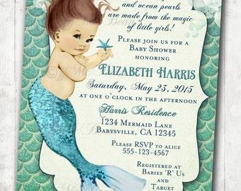 Mermaid Baby Shower Invitation Little Mermaid Ocean Baby Shower Under The Sea Aqua Seafoam Green -  DIY Printable