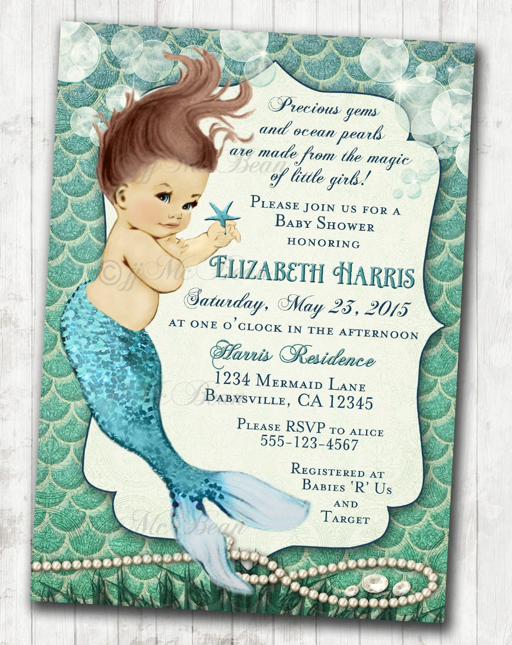 Mermaid Baby Shower Invitation Little Mermaid Ocean Baby