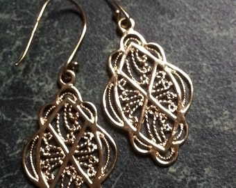 Sterling with Gold Overlay Dangle Filigreelegree Earrings