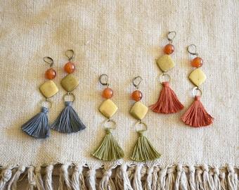 Bronze diamond and gemstone brass tassel earrings