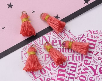 10 tassels coral / yellow cotton of 18mm