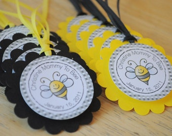 12 Baby Shower Favor Tags   Bumble Bee Baby Shower   Mommy To Bee   Baby  Shower Decorations