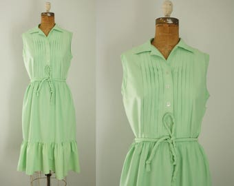 1950s dress | vintage 50s mint green sundress