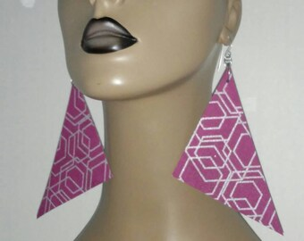 Fabulous Purple and Silver  Triangle Fabric Earrings, Multiple Color, Large Fabric Earrings, Women Earrings, Large Earrings