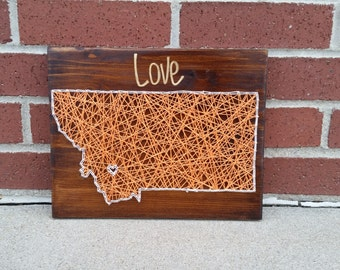 Montana string art home state sign