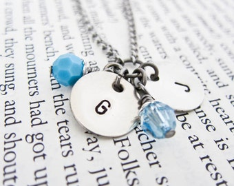 Hand Stamped Initial Letter Necklace with Two Discs & Birthstones - Perfect Personalized Gift for Moms, Mommy, Mummy, Mum