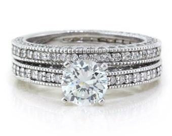 Diamond Moissanite Engagement Ring and Wedding Band