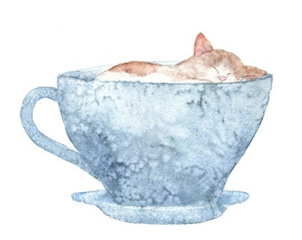 Kitty Cup/Greeting Card/Note Card/Illustration/Watercolor/Blank/Local