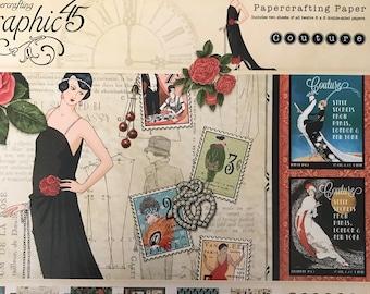 GRAPHIC 45 8x8 paper pad COUTURE retired design rare