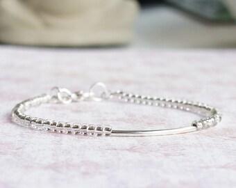Clear Silver Bracelet, Seed Bead Bracelet, Stacking Bracelet, Beaded Bracelet, Silver Tube Bracelet, Delicate Bracelet, Minimalist Bracelet
