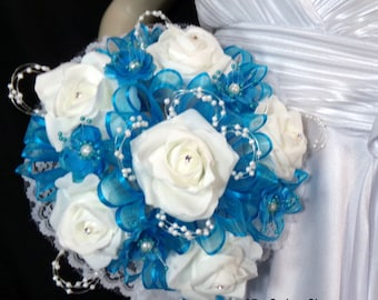 Bridesmaid Turquoise and White  Flower Bouquet