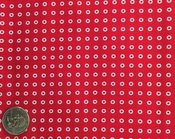 1 Yard Red White Tiny Circle Cotton Quilt Fabric
