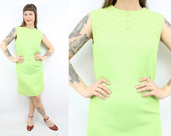 Vintage 60's Neon Green Shift Dress / 1960's Spring Dress / Colorful Bright Dress / Women's Size Small