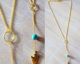 Necklace chain arrowhead and Pearl reality