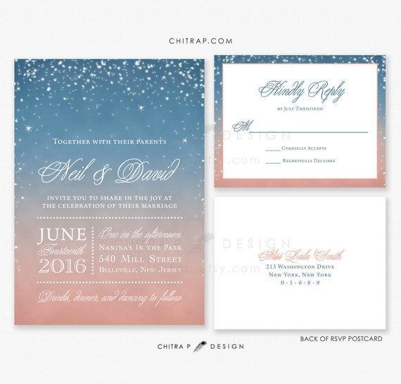 Items Similar To Starry Wedding Invitations & RSVP Cards
