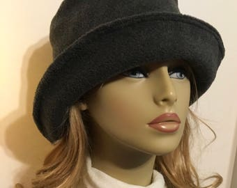Womens Cloche Hat, Womens Winter Hat, Womans Fleece Hat, Bucket Hat, Grey, Charcoal. Ready to Ship