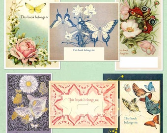 Vintage Butterfly Bookplates - Assorted BLANK Book Labels - Spring, Baby Shower, Mother's Day Gift, Ex Libris