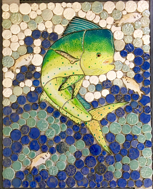 DIY Ceramic Tile Mosaic Mahi Mahi Dauphin Backsplash