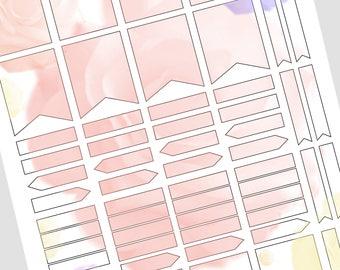 Printable Stickers - Flower Theme, Bullet Journal, Planner Stickers, Minimalist,  Roses Theme Planner Sticker Sheet
