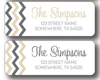 Return Address Labels -Charcoal Gray and Gold Chevron
