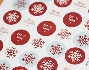 East of India Christmas Stickers Sheet - Snowflake, Merry Christmas - Round x 40